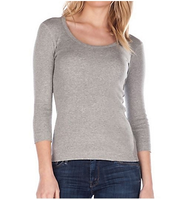 Three Dots 3/4 Sleeve Scoop Neck Tee