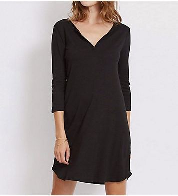 Three Dots 1X1 Cotton Modal Charlotte 3/4 Sleeve Dress