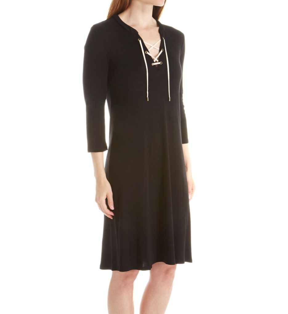 Three Dots 1x1 Cotton Modal Lace Up Dress