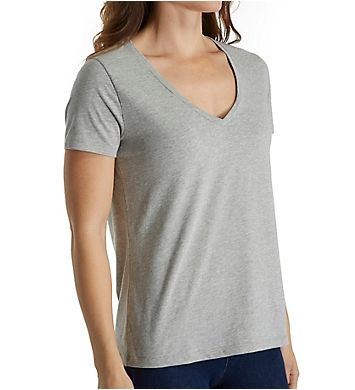 Three Dots Sanded Jersey Cotton Short Sleeve V-Neck Tee