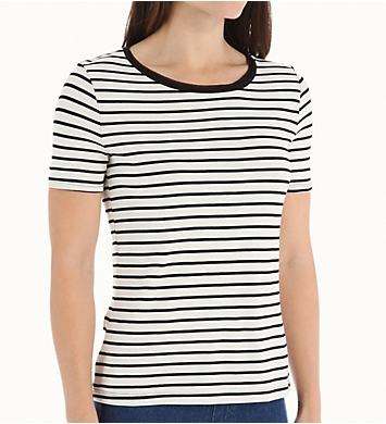 Three Dots Nautical Ponte Stripe Short Sleeve Tee