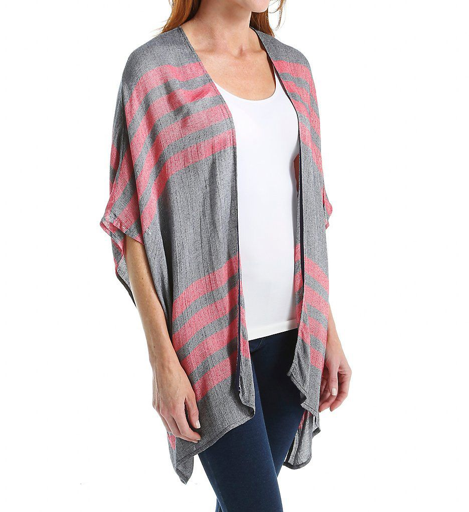 Three Dots French Linen Stripe Rosa Cardigan Cover Up