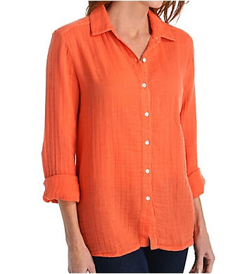 Three Dots Double Gauze Lynn Long Sleeve Shirt