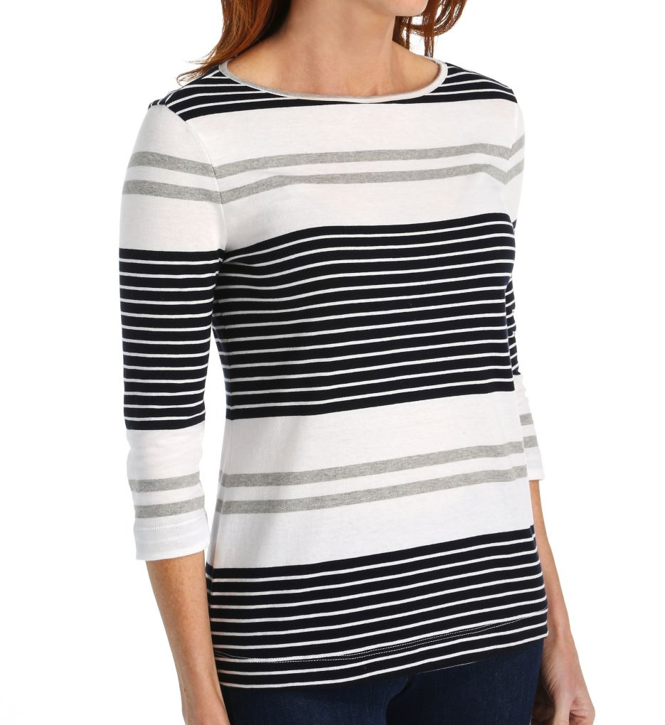 Three Dots Soho Stripe Rozana 3/4 Sleeve British Tee