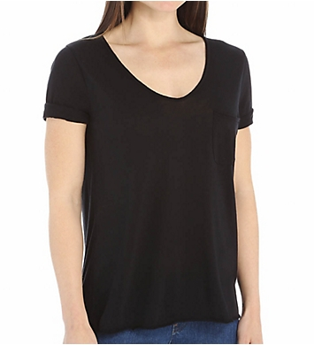 Three Dots Jersey Collette V-Neck 1 Pocket Tee