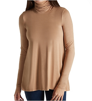 Three Dots Refined Jersey Long Sleeve High Low Turtleneck