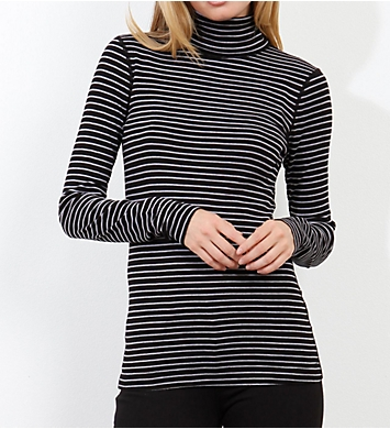Three Dots Combed Cotton Turtleneck Tahoe Stripe