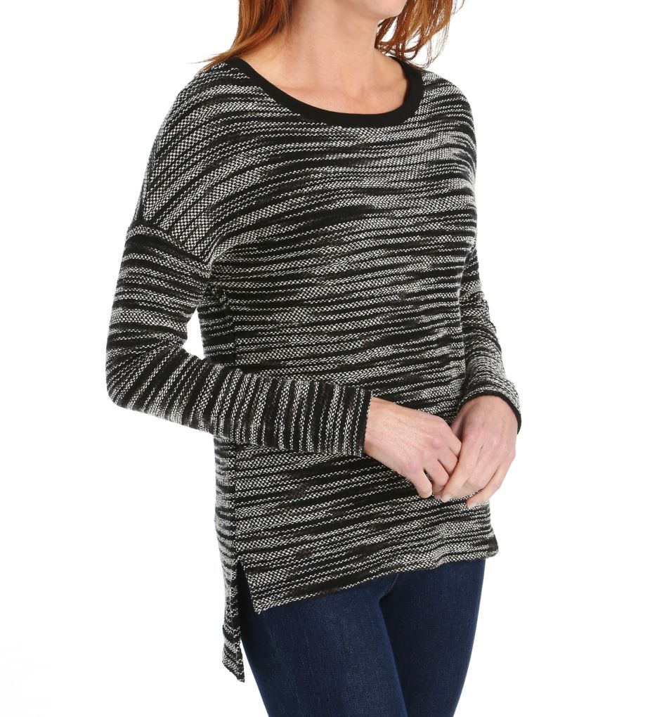 Three Dots Space Dye French Terry Marilyn Drop Shoulder Top