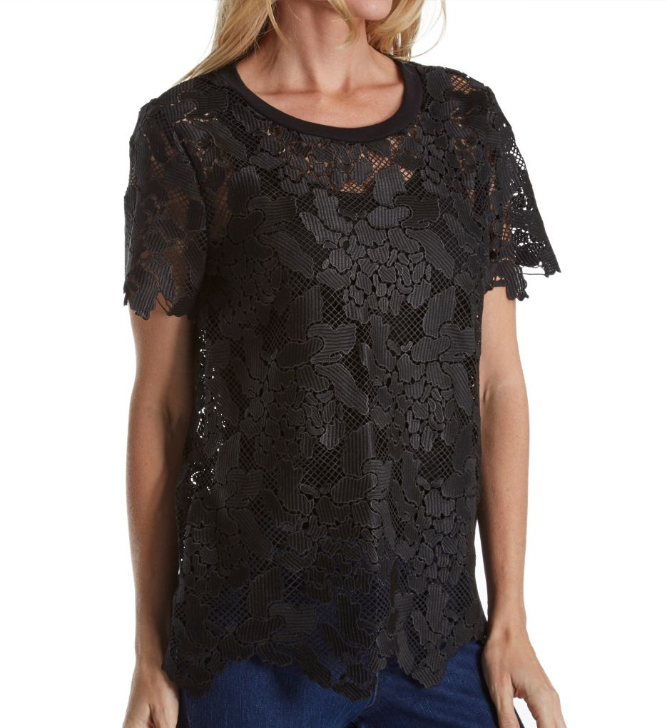 Three Dots Floral Lace Short Sleeve Crew Neck Top
