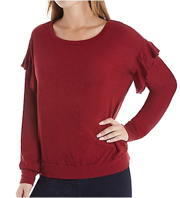 Three Dots Eco Knit Long Sleeve Top with Ruffle