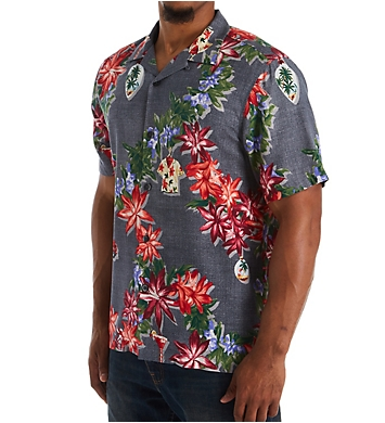 Tommy Bahama Poinsettia Holiday Camp Shirt