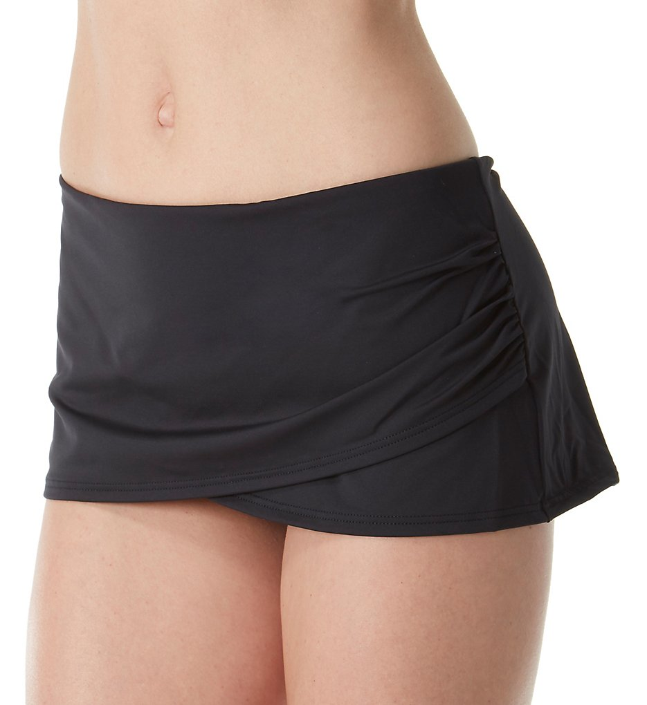 Tommy Bahama TSW31023B Pearl Solids Wrap Skirted Hipster Swim Bottom (Black)