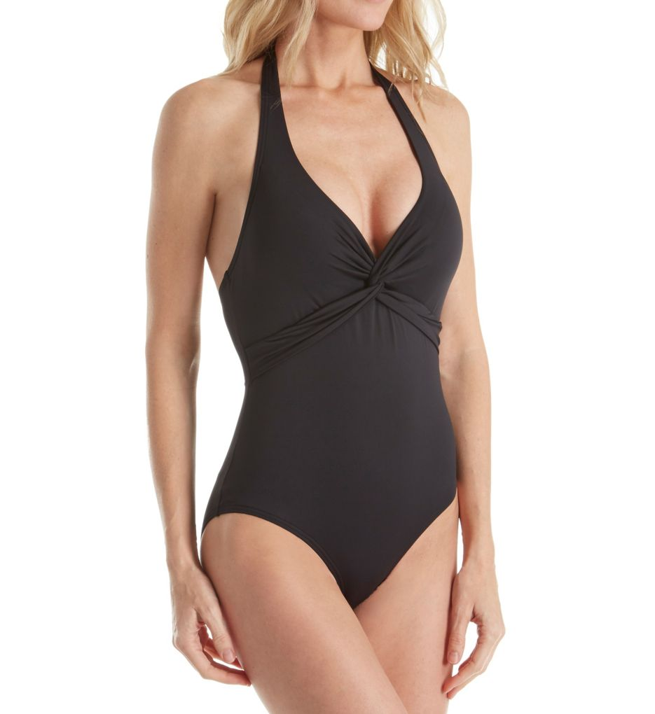 Tommy Bahama Pearl Solids Halter Control One Piece Swimsuit
