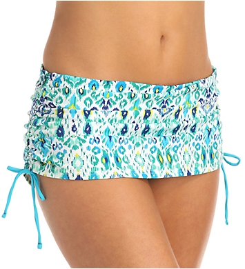 Tommy Bahama Ikat Side Shirred Skirted Hipster Swim Bottom