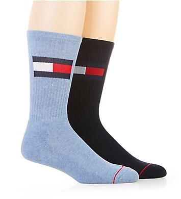 Tommy Hilfiger Large Flag Logo Crew Sock - 2 Pack