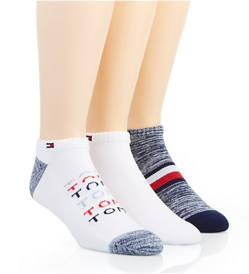 Tommy Hilfiger Faded Logo Cushion No Show Sock - 3 Pack