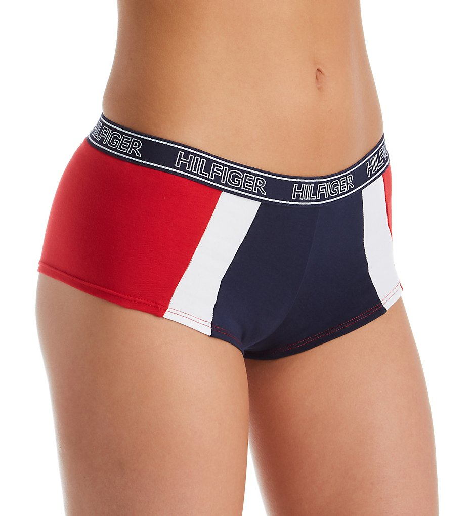 Tommy Hilfiger - Tommy Hilfiger R13T057 Perforated Micro Boyshort Panty (Red/White/Navy L)