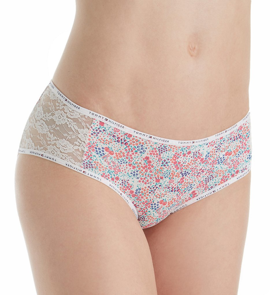 Tommy Hilfiger - Tommy Hilfiger R17T029 Cotton and Lace Hipster Panty (Garden Floral Egret M)