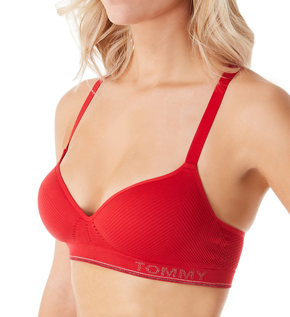 Tommy Hilfiger - Tommy Hilfiger R70T233 Seamless Rib Padded Racerback Bralette (Red S)