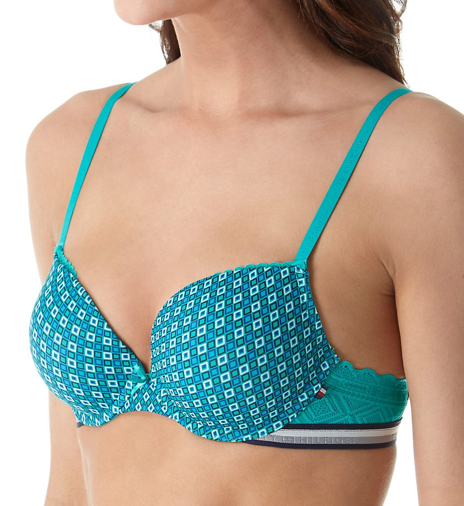 Tommy Hilfiger - Tommy Hilfiger R72T029 Preppy Micro Push Up Plunge Bra (Diamond Inlay Columbia 36B)