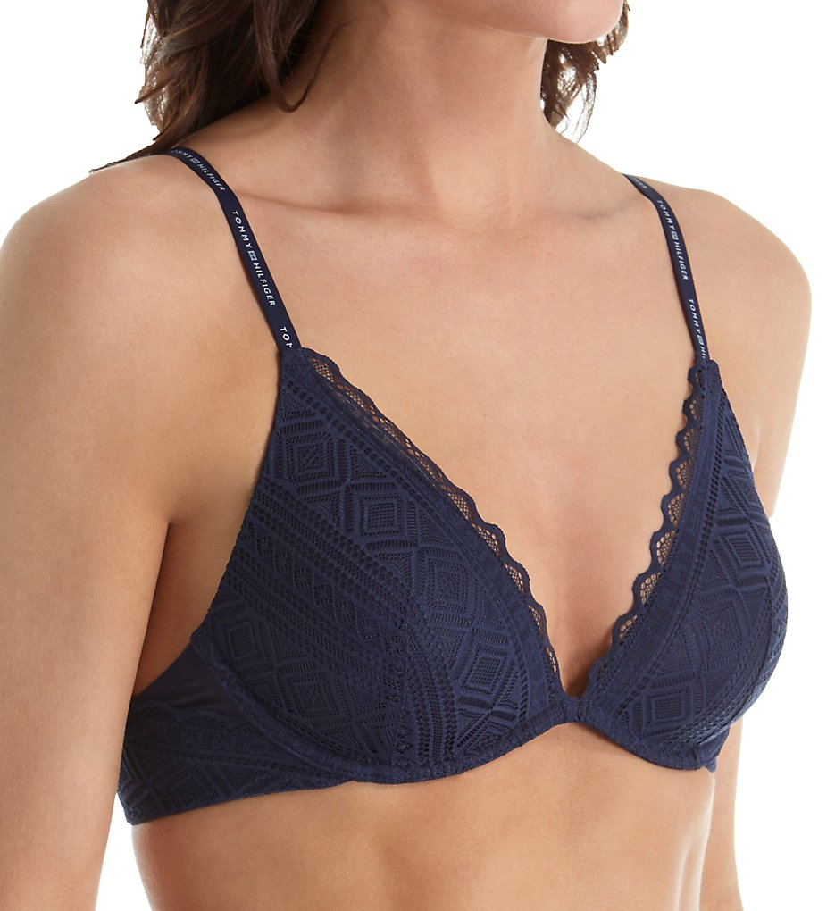 Tommy Hilfiger - Tommy Hilfiger R75T008 Pretty Lace Lightly Lined V-Neck Triangle Bra (Peacoat 34C)