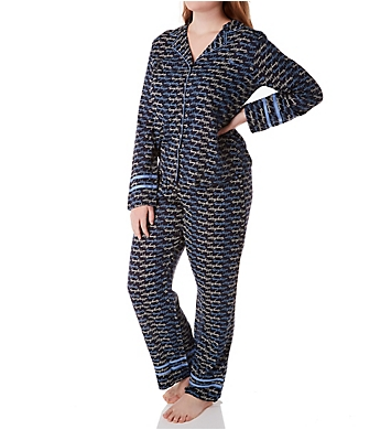 Tommy Hilfiger Girlfriend Woven Notch Collar LS Top & Pant PJ Set