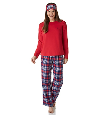 Tommy Hilfiger Jersey Sweater & Flannel Pant PJ Set with Eye Mask