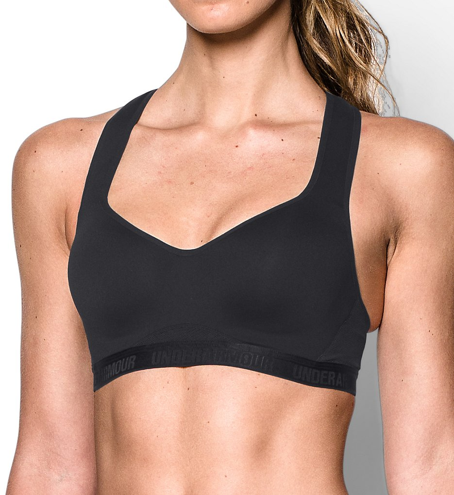 Under Armour - Under Armour 1259953 HeatGear Armour High Support Sports Bra (Black/Black 34DD)