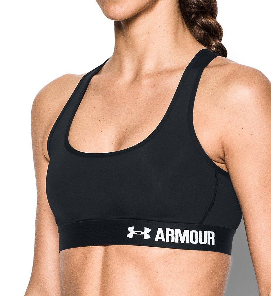 Under Armour - Under Armour 1276503 HeatGear Armour Crossback Mid-Impact Sports Bra (Black M)