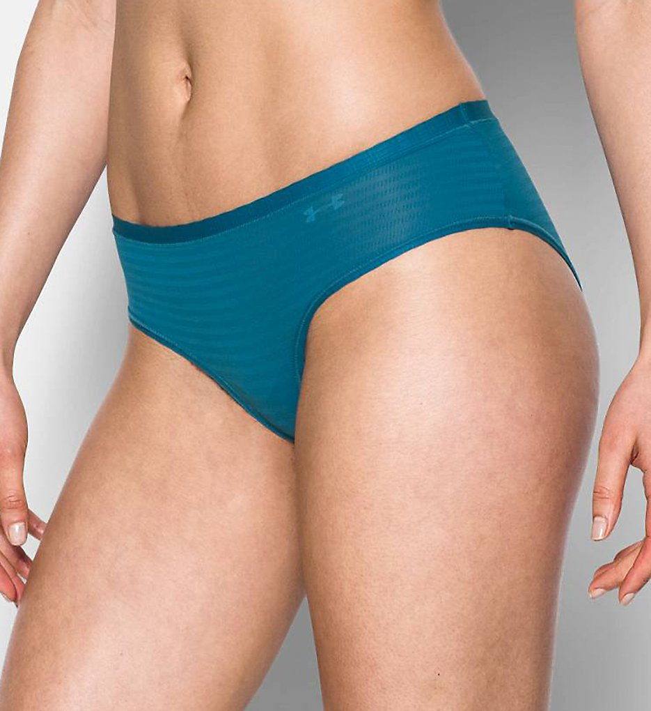 Under Armour - Under Armour 1290950 Pure Stretch Sheers Striped Hipster Panty (Bayou Blue/Blue S)