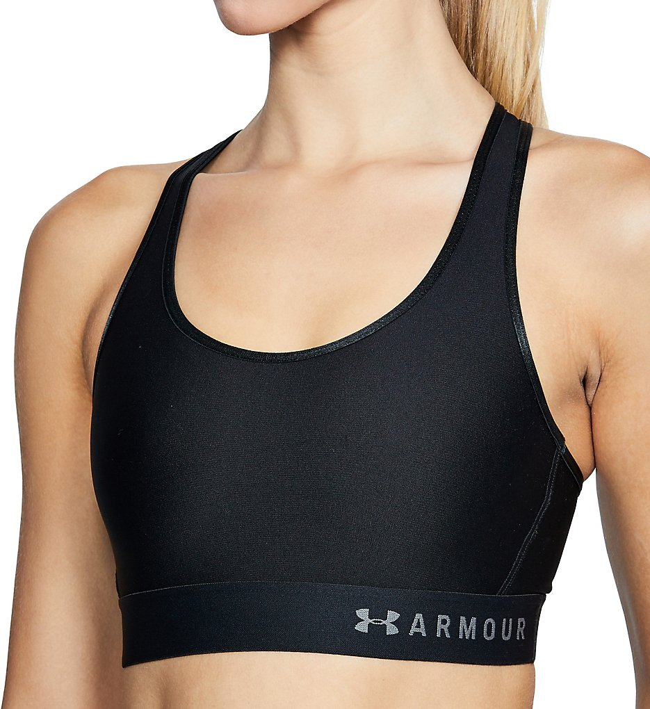 Under Armour : Under Armour 1307196 UA Armour Mid Impact Sports Bra (Black S)