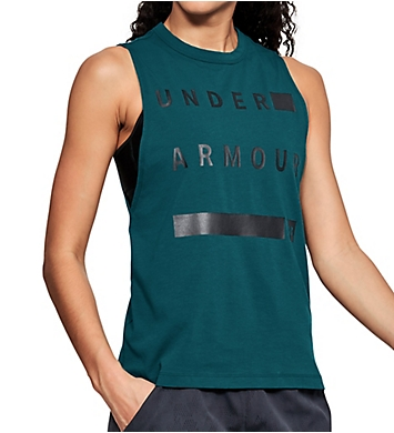 Under Armour Charged Cotton Side Slit Hem Graphic Muscle Tank