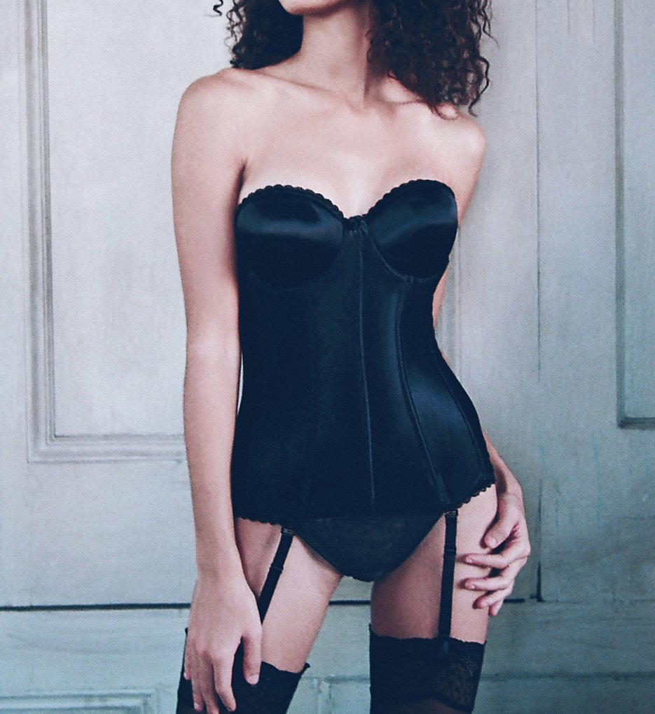 Va Bien - Va Bien 513 Smooth Satin Hourglass Bustier (Black 34B)