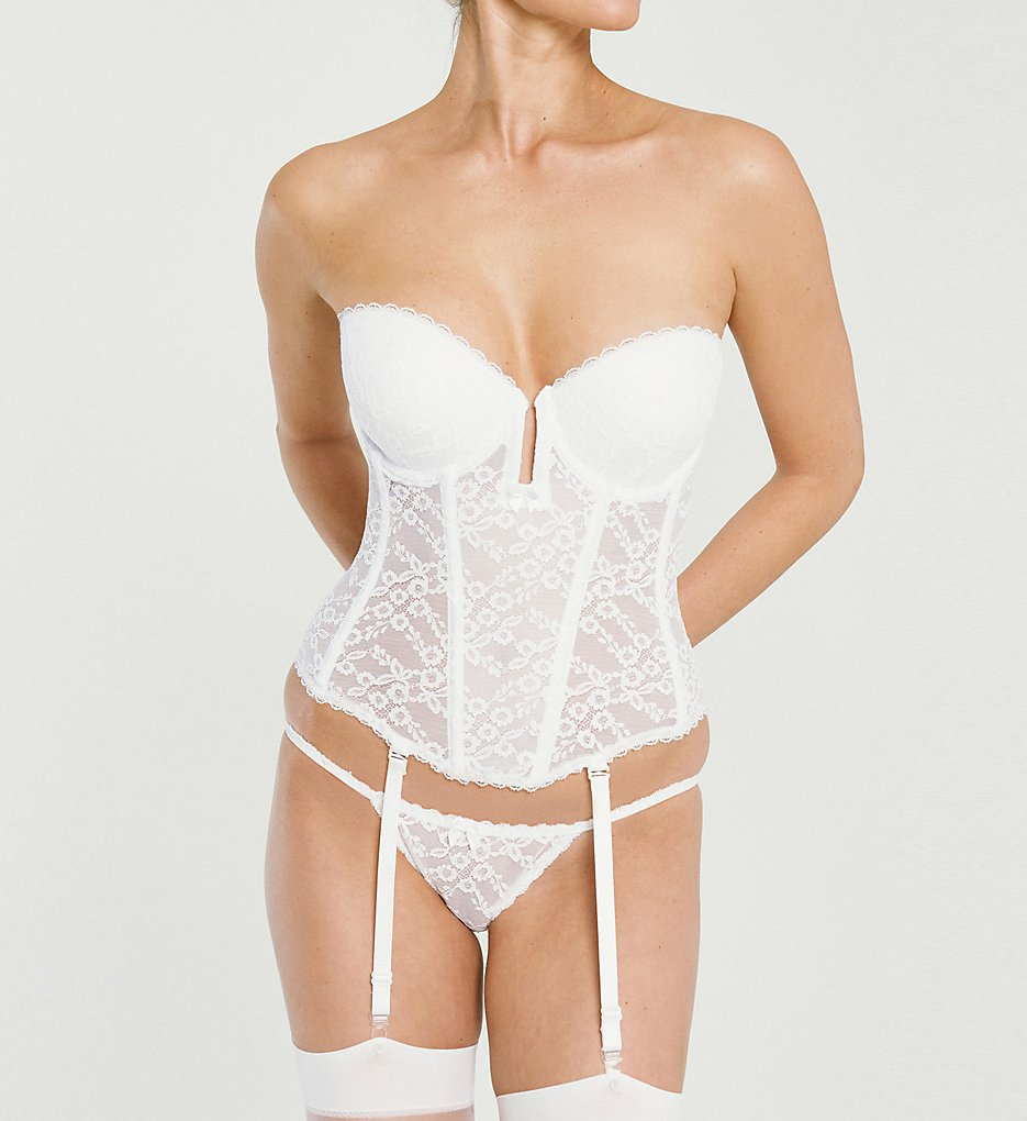 Va Bien >> Va Bien 6163 Lace Low Plunge Bustier with Garters (White 34A)