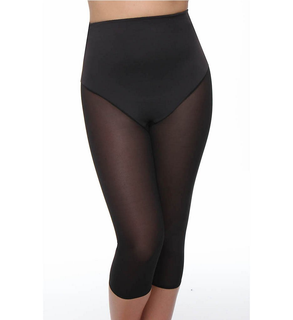 Va Bien >> Va Bien 633 Smooth Couture High Waist Shaping Capri Tights (Black S)