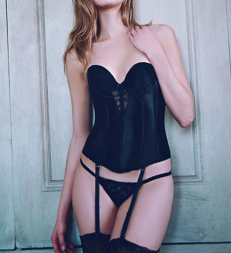 Va Bien : Va Bien 6363 Lace Plunge Low Back Bustier with Garters (Black 32A)