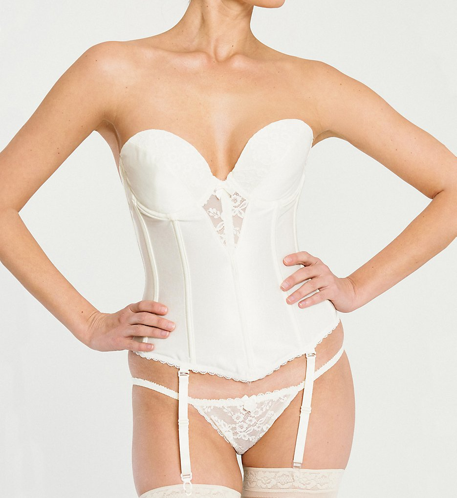 Va Bien 6363 Lace Plunge Low Back Bustier with Garters (Creme)