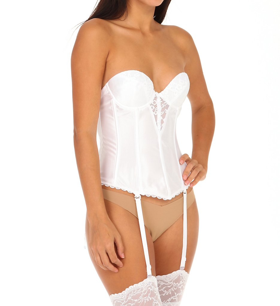Va Bien 6363 Lace Plunge Low Back Bustier with Garters (White)