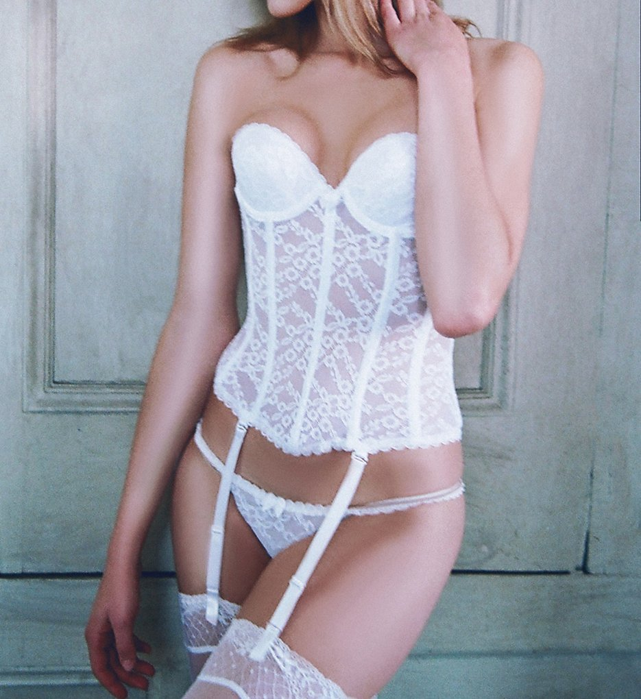 Va Bien 7474 Lace Low Back Bustier with Garters (White)