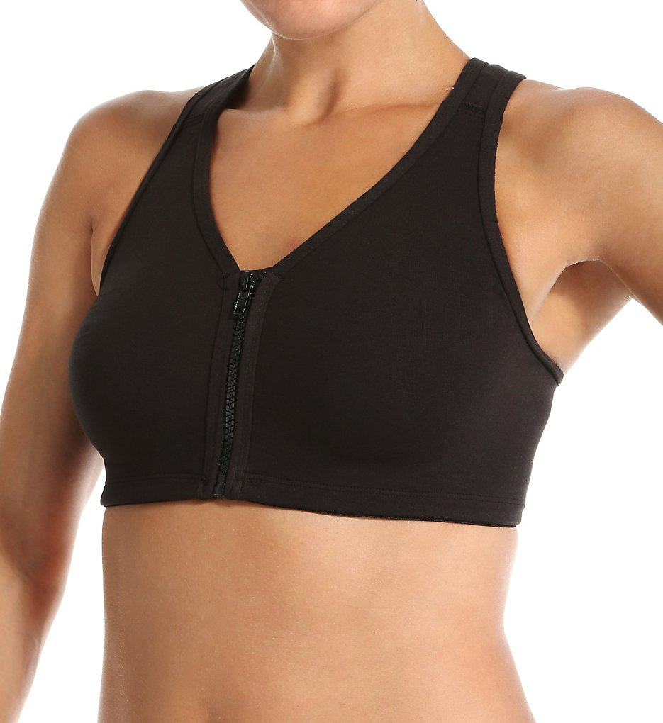 Valmont 1611 Zip Front Leisure and Sports Bra (Black)