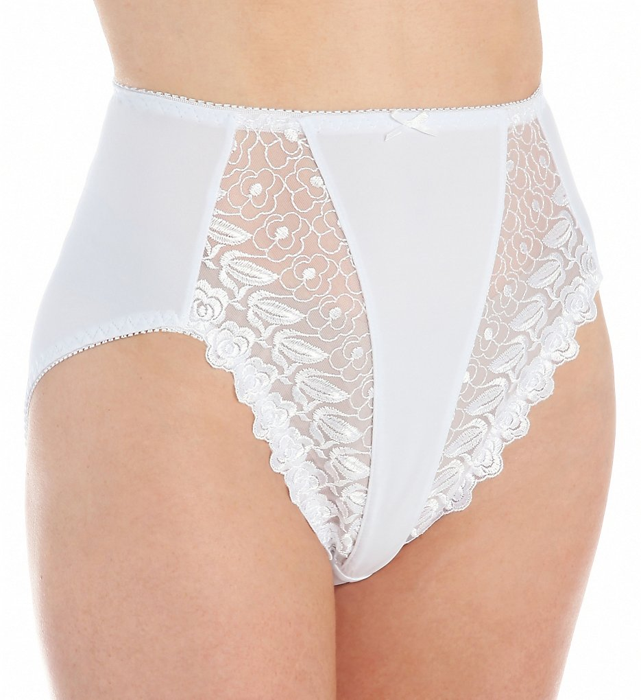 Valmont >> Valmont 2320 Embroidered Lace and Satin Hi-Cut Brief Panties (White 5)