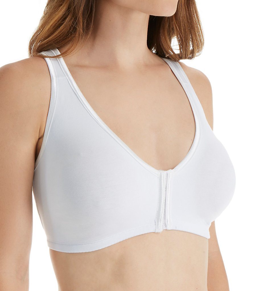 Valmont 45801 Satin Trim Front Closure Soft Bra (White)