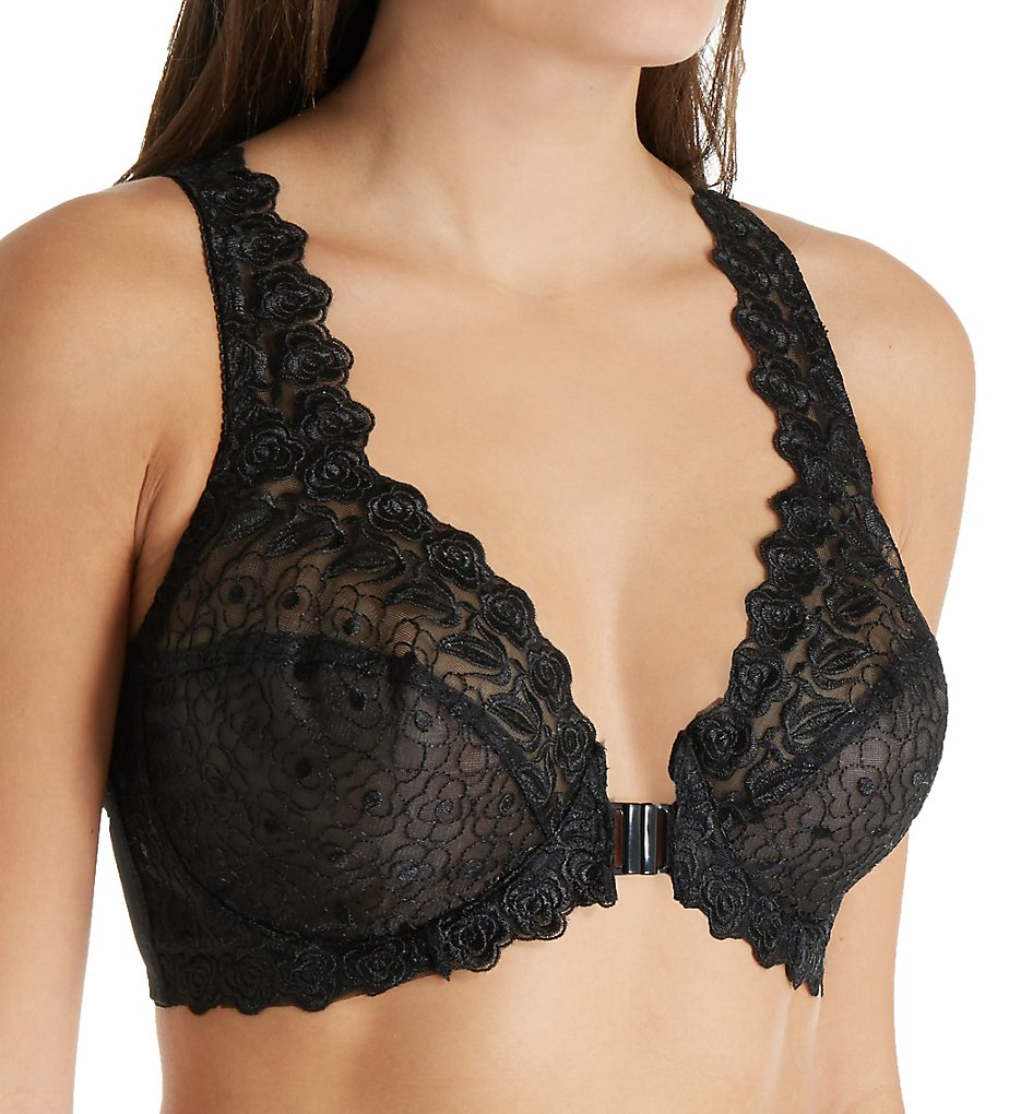 Valmont : Valmont 8323 Front Close Lace Cup Underwire Bra (Black 34B)
