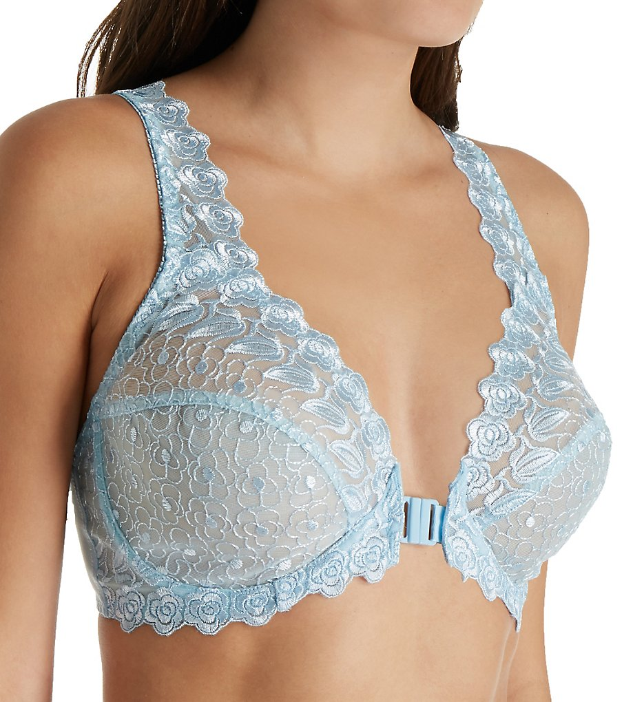 Valmont 8323 Front Close Lace Cup Underwire Bra (Light Blue)