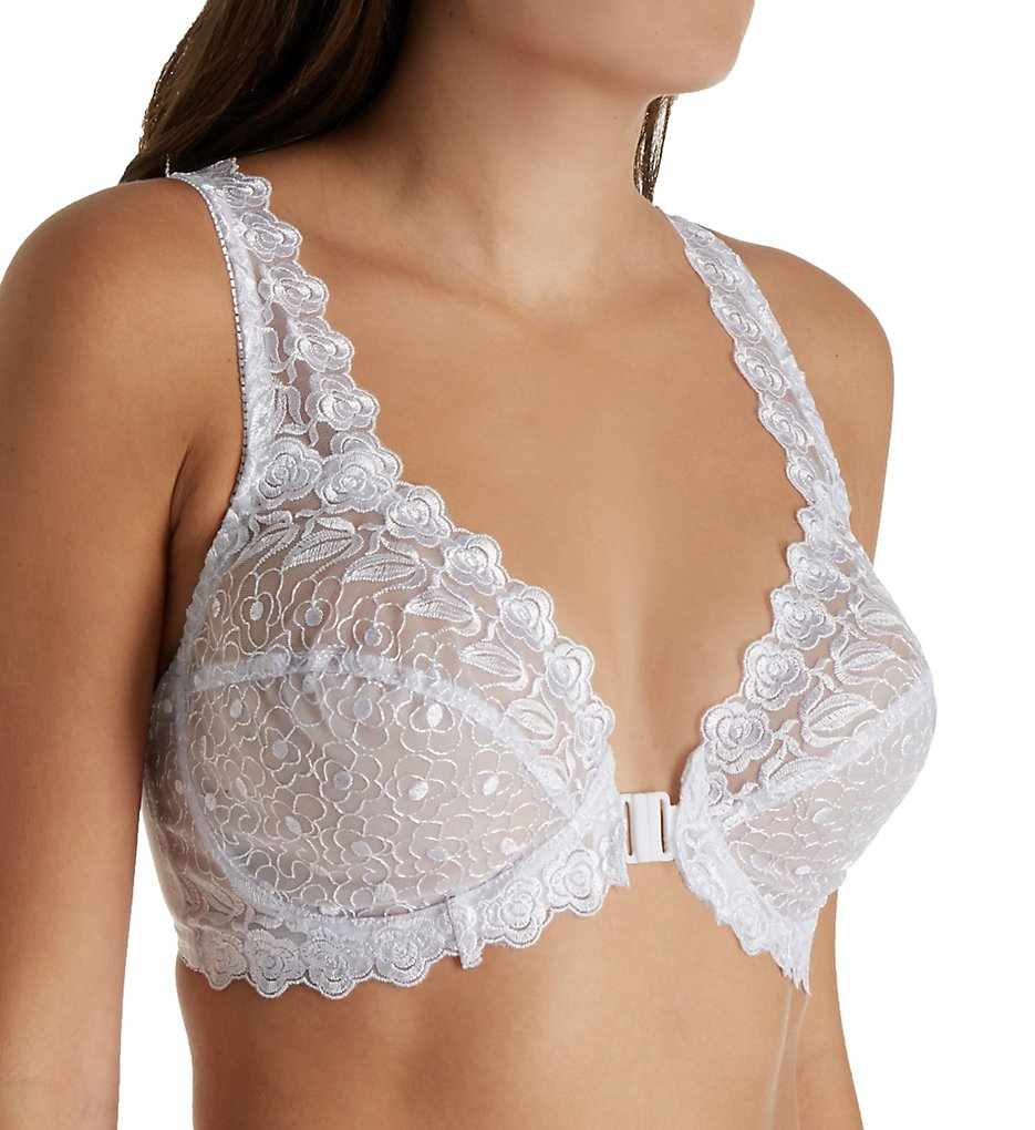 Valmont 8323 Front Close Lace Cup Underwire Bra (White)