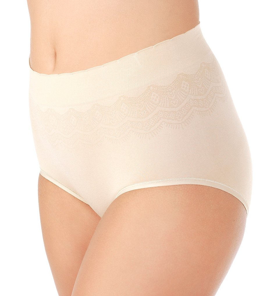 Vanity Fair >> Vanity Fair 13170 No Pinch No Show Seamless Brief Panty (Damask Neutral Lace 6)