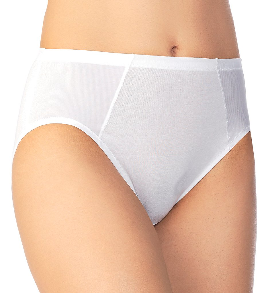 Vanity Fair - Vanity Fair 13321 Cooling Touch Cotton Stretch Hi-Cut Brief Panty (Star White 6)