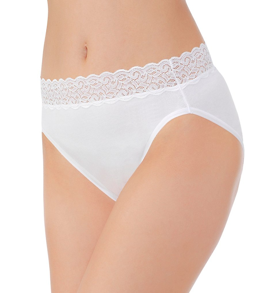 Vanity Fair >> Vanity Fair 13395 Flattering Lace Cotton Stretch Hi-Cut Brief Panty (Star White 6)