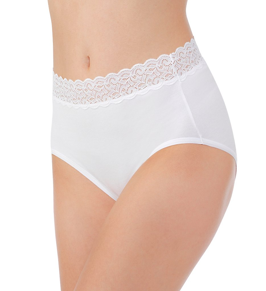 Vanity Fair - Vanity Fair 13396 Flattering Lace Cotton Stretch Brief Panty (Star White 6)