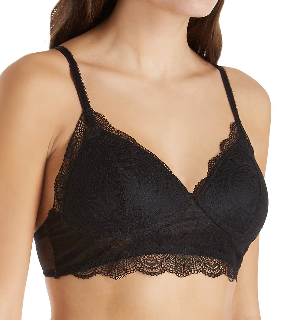 Vanity Fair - Vanity Fair 71070 Flattering Lace Wirefree Padded Bralette (Midnight Black XL)